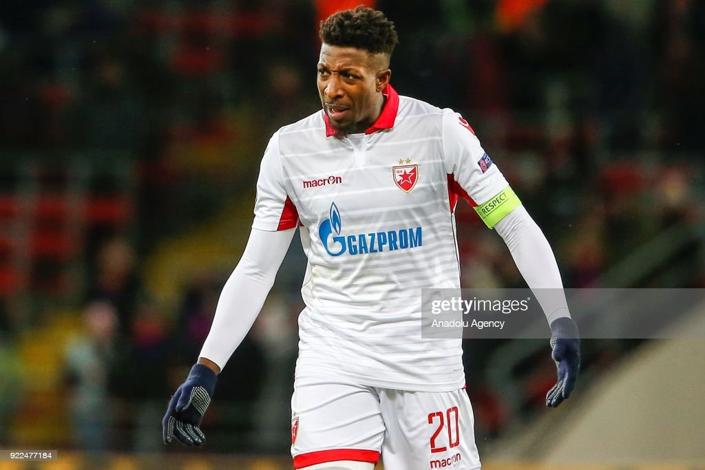 Mitchell Donald of Crvena Zvezda is seen during the UEFA Europa League round of 32, second leg soccer match between CSKA Moscow and Crvena Zvezda at the Stadium CSKA Moscow in Moscow, Russia on February 21, 2018.