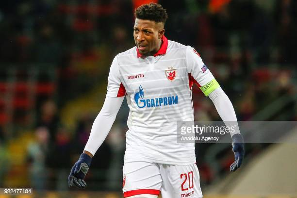 Mitchell Donald of Crvena Zvezda is seen during the UEFA Europa League round of 32 second leg soccer match between CSKA Moscow and Crvena Zvezda at...
