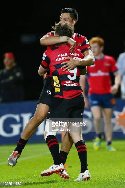 Mitchell Drummond celebrates after scoring a try during the Mitre 10 Cup Semi Final Tasman v Canterbury on October 19 2018 in Nelson New Zealand