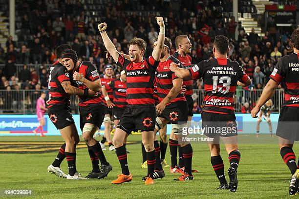 Mitchell Drummond of Canterbury celebrates after the ITM Cup Premiership Final between Canterbury and Auckland at AMI Stadium on October 24 2015 in...