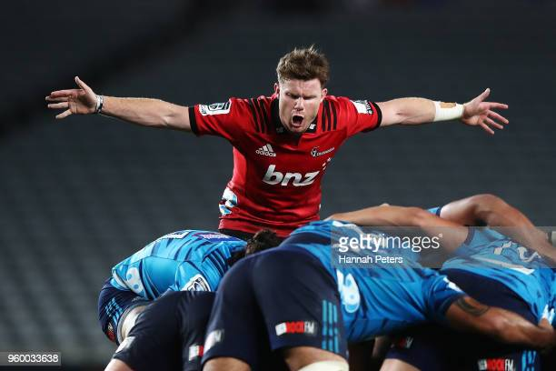 Mitchell Drummond of the Crusaders calls a penalty during the round 14 Super Rugby match between the Blues and the Crusaders at Eden Park on May 19...