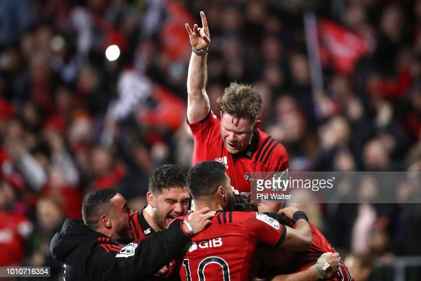 Mitchell Drummond of the Crusaders celebrates on full time during the Super Rugby Final match between the Crusaders and the Lions at AMI Stadium on...