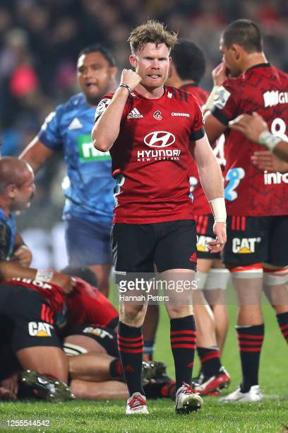 Mitchell Drummond of the Crusaders celebrates on full time during the round 5 Super Rugby Aotearoa match between the Crusaders and the Blues at...