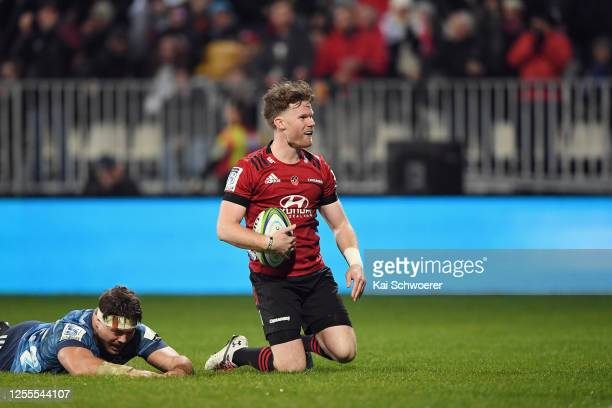 Mitchell Drummond of the Crusaders celebrates scoring a try during the round 5 Super Rugby Aotearoa match between the Crusaders and the Blues at...