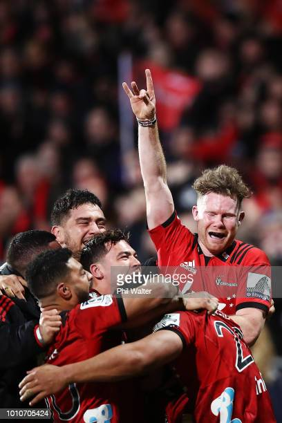 Mitchell Drummond of the Crusaders celebrates with his team after winning the Super Rugby Final match between the Crusaders and the Lions at AMI...