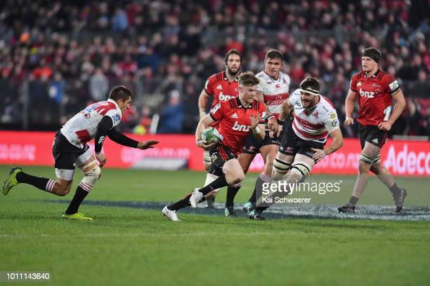 Mitchell Drummond of the Crusaders charges forward during the Super Rugby Final match between the Crusaders and the Lions at AMI Stadium on August 4...