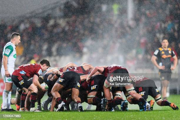 Mitchell Drummond of the Crusaders looks to feed the scrum during the round 3 Super Rugby Aotearoa match between the Crusaders and the Chiefs at...