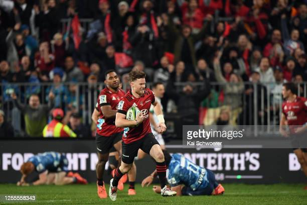 Mitchell Drummond of the Crusaders runs through to score a try during the round 5 Super Rugby Aotearoa match between the Crusaders and the Blues at...