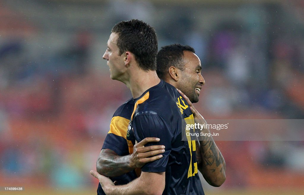 Mitchell Duke of Australia celebrates after scoring a goal during the EAFF East Asian Cup match between Australia and China at Jamsil Stadium on July 28, 2013 in Seoul, South Korea.