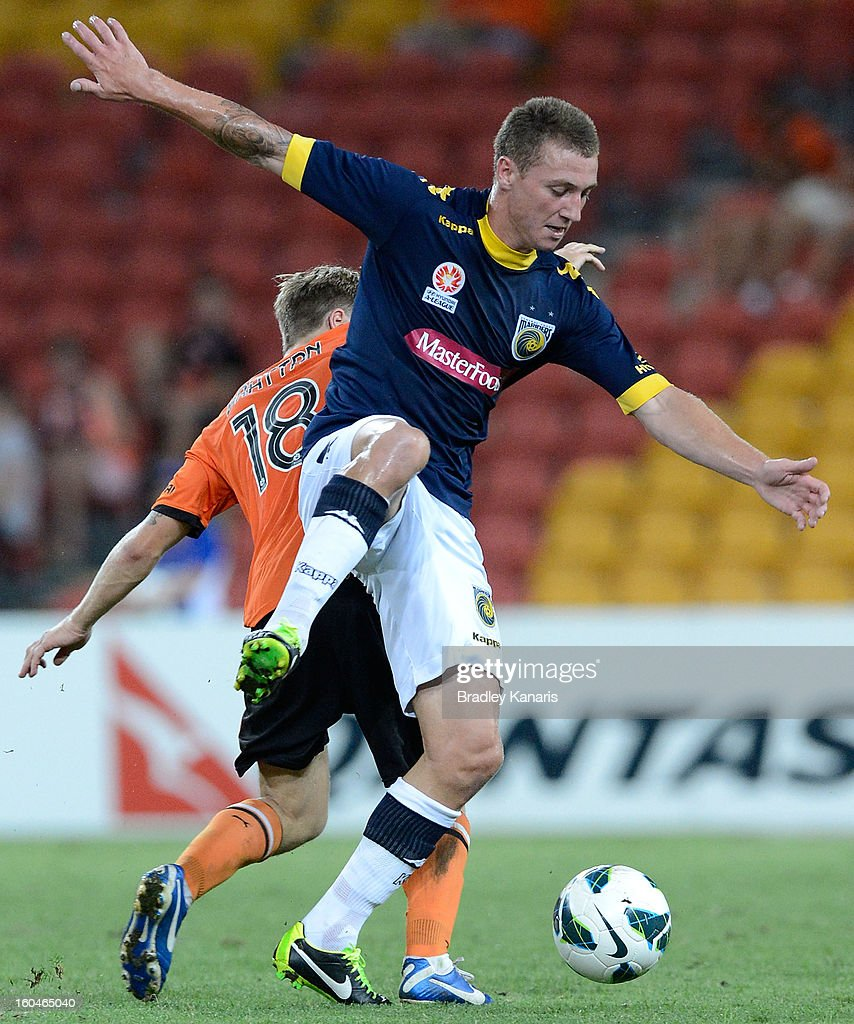 Mitchell Duke of the Mariners in action during the round 19 A-League match between the Brisbane Roar and the Central Coast Mariners at Suncorp Stadium on February 1, 2013 in Brisbane, Australia.