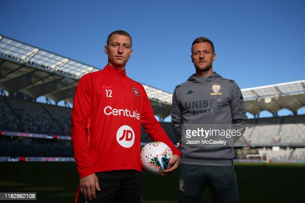 Mitchell Duke of the Wanderers and Liam Cooper of Leeds United pose during a Leeds United media opportunity at Bankwest Stadium on July 19, 2019 in...