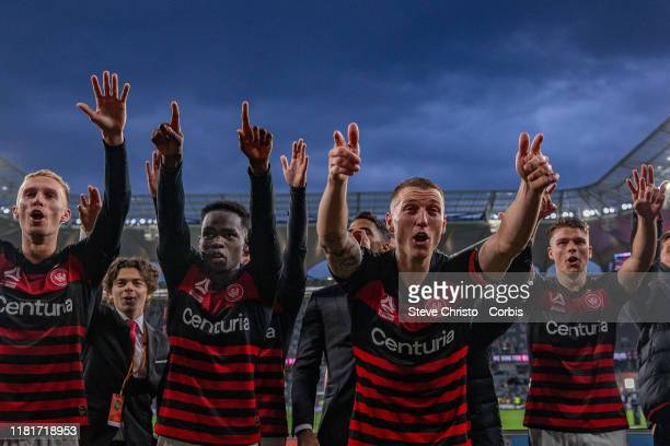 Mitchell Duke of the Wanderers celebrates in front of the RBB after scoring two goals and winning the match again the Mariners after the round one...