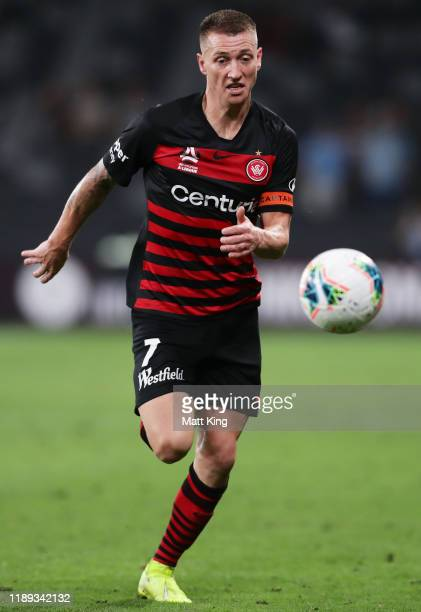 Mitchell Duke of the Wanderers controls the ball during the round 7 ALeague match between the Western Sydney Wanderers and Melbourne City at Bankwest...