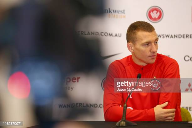 Mitchell Duke of the Wanderers speaks to the media prior to a Western Sydney Wanderers training session at Bankwest Stadium on July 19, 2019 in...