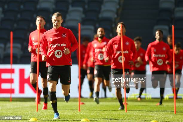 Mitchell Duke of the Wanderers warms up during a Western Sydney Wanderers training session at Bankwest Stadium on July 19, 2019 in Sydney, Australia.