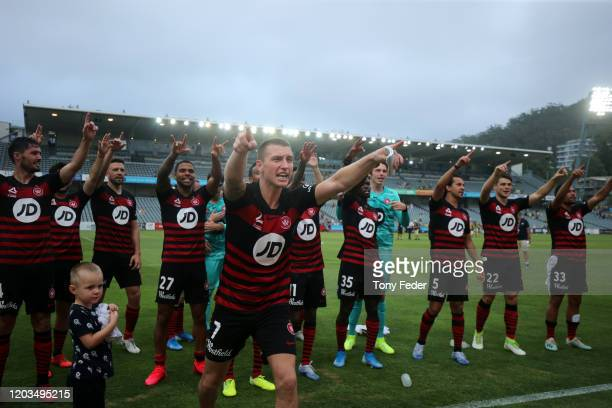 Mitchell Duke of Western Sydney Wanderers celebrates the win over the Mariners during the round 17 A-League match between the Central Mariners and...
