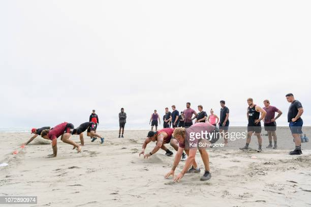 Mitchell Dunshea and his team mates take part in a drill during a Crusaders training session on December 14 2018 in Christchurch New Zealand