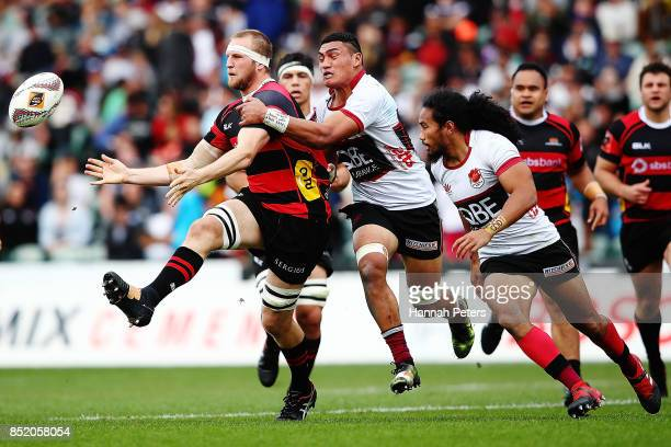Mitchell Dunshea of Canterbury passes the ball out during the round six Mitre 10 Cup match between North Harbour and Canterbury at QBE Stadium on...