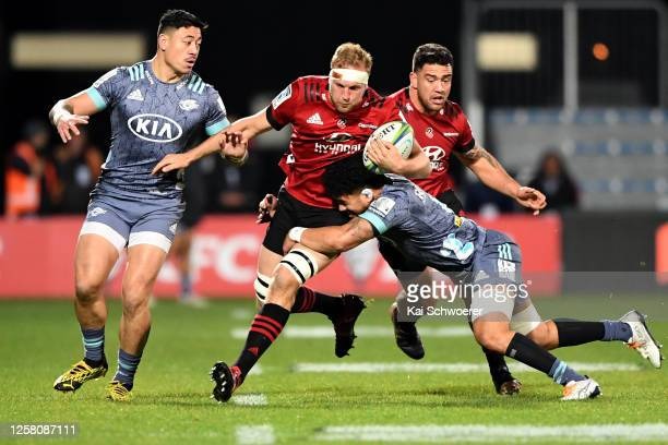 Mitchell Dunshea of the Crusaders charges forward during the round 7 Super Rugby Aotearoa match between the Crusaders and the Hurricanes at...