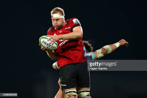 Mitchell Dunshea of the Crusaders secures lineout ball during the round 7 Super Rugby Aotearoa match between the Crusaders and the Hurricanes at...