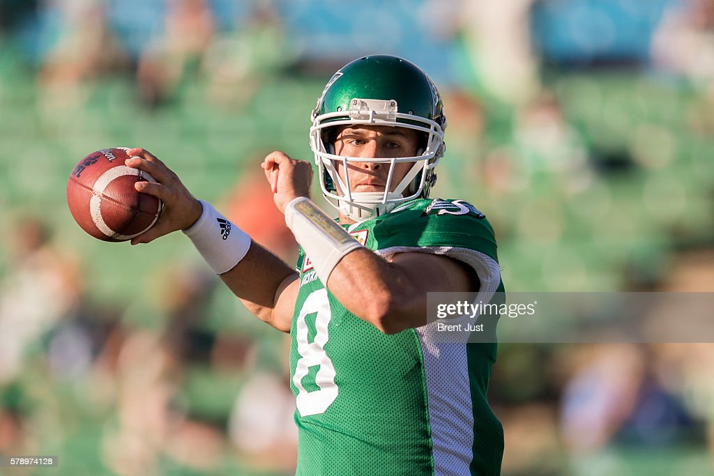 Mitchell Gale #8 of the Saskatchewan Roughriders throws a pass in pre-game warmup for the game between the Ottawa Redblacks and the Saskatchewan Roughriders at Mosaic Stadium on July 22, 2016 in Regina, Canada.