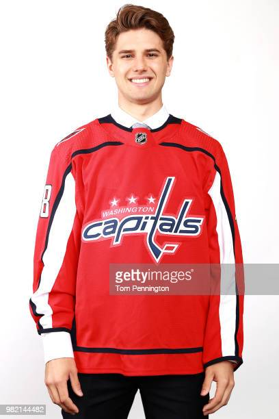 Mitchell Gibson poses after being selected 124th overall by the Washington Capitals during the 2018 NHL Draft at American Airlines Center on June 23...
