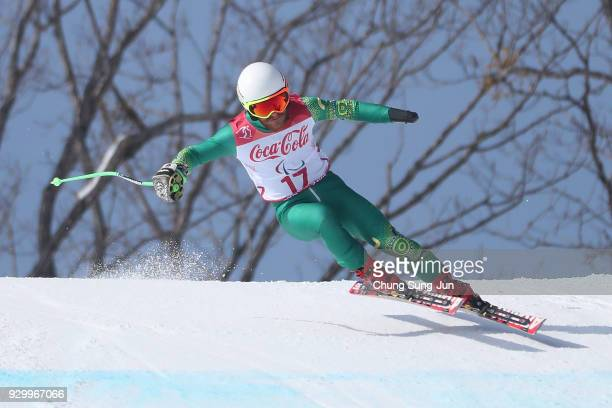 Mitchell Gourley of Australia competes in the Alpine Skiing Men's Downhill Standing during day one of the PyeongChang 2018 Paralympic Games on March...