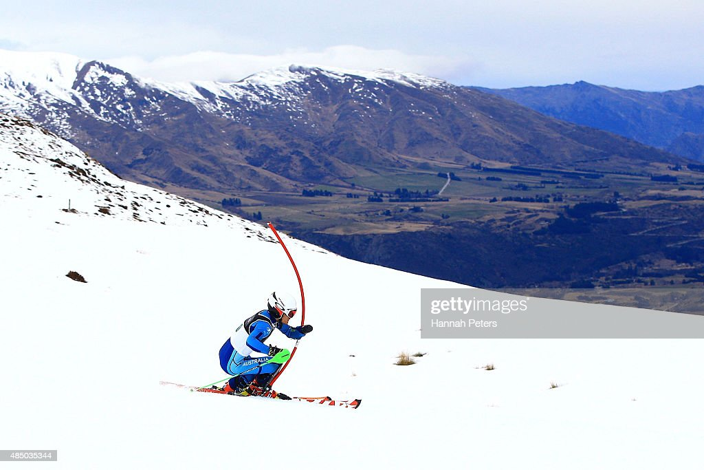 Mitchell Gourley of Australia competes in the Men Slalom Standing L6/8-2 in the IPC Alpine Adaptive Slalom Southern Hemisphere Cup during the Winter Games NZ at Coronet Peak on August 24, 2015 in Queenstown, New Zealand.