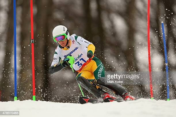 Mitchell Gourley of Australia competes in the Men's Slalom 1st Run Standing during day six of Sochi 2014 Paralympic Winter Games at Rosa Khutor...