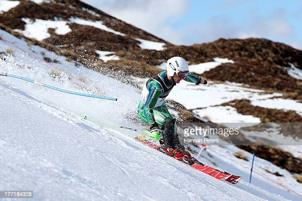 Mitchell Gourley of Australia competes in the Mens Slalom Standing LW6/82 race during the IPC Alpine Adaptive Slalom World Cup on day eight of the...