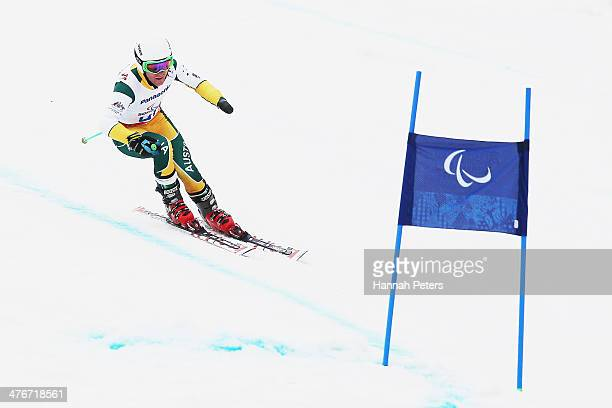 Mitchell Gourley of Australia trains in the Men's Downhill Sitting Ski event at Rosa Khutor Alpine Center on March 5 2014 in Sochi Russia