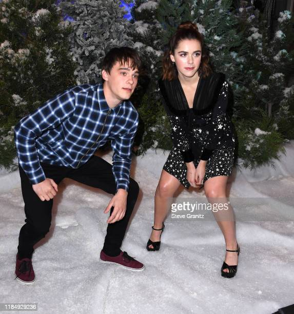 Mitchell Hope and Kiernan Shipka arrives at the Photocall For Netflix's Let It Snow at the Beverly Wilshire Four Seasons Hotel on November 01 2019 in...