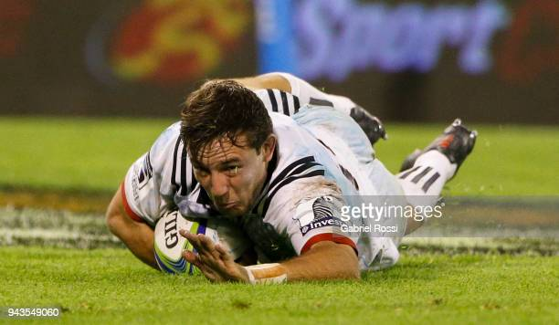 Mitchell Hunt of Crusaders scores a try during a match between Jaguares and Crusaders as part of 6th round of Super Rugby at Jose Amalfitani Stadium...
