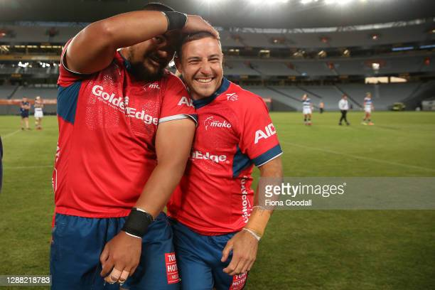 Mitchell Hunt of Tasman celebrates with Isi Tu'ungafasi of Tasman during the Mitre 10 Cup Final between Auckland and Tasman at Eden Park on November...