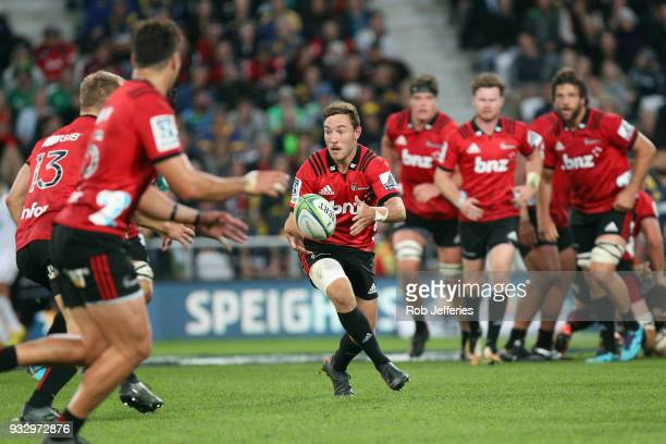 Mitchell Hunt of the Crusaders during the round five Super Rugby match between the Highlanders and the Crusaders at Forsyth Barr Stadium on March 17...