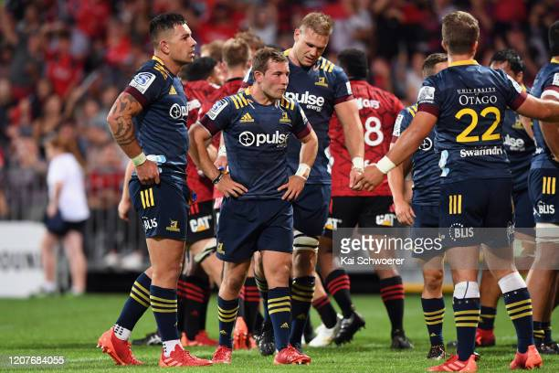 Mitchell Hunt of the Highlanders and his team mates look dejected after conceding a try during the round four Super Rugby match between the Crusaders...