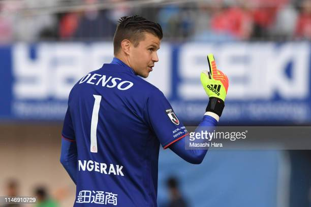 Mitchell James Langerak of Nagoya Grampus looks on during the J.League J1 match between Shonan Bellmare and Nagoya Grampus at Shonan BMW Stadium...