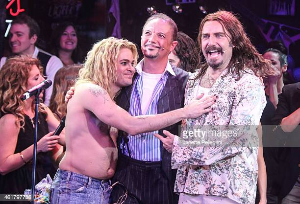 Mitchell Jarvis Paul Schoeffler and Adam Dannheisser attend 'Rock Of Ages' Final Performance On Broadway at Helen Hayes Theatre on January 18 2015 in...