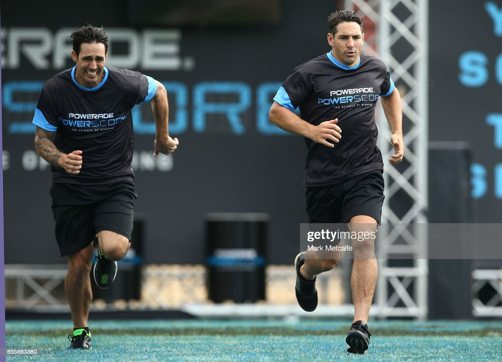 Mitchell Johnson and Billy Slater take part in the endurance test during the Powerade Powerscore Launch Event at North Sydney Oval on March 21, 2017 in Sydney, Australia.