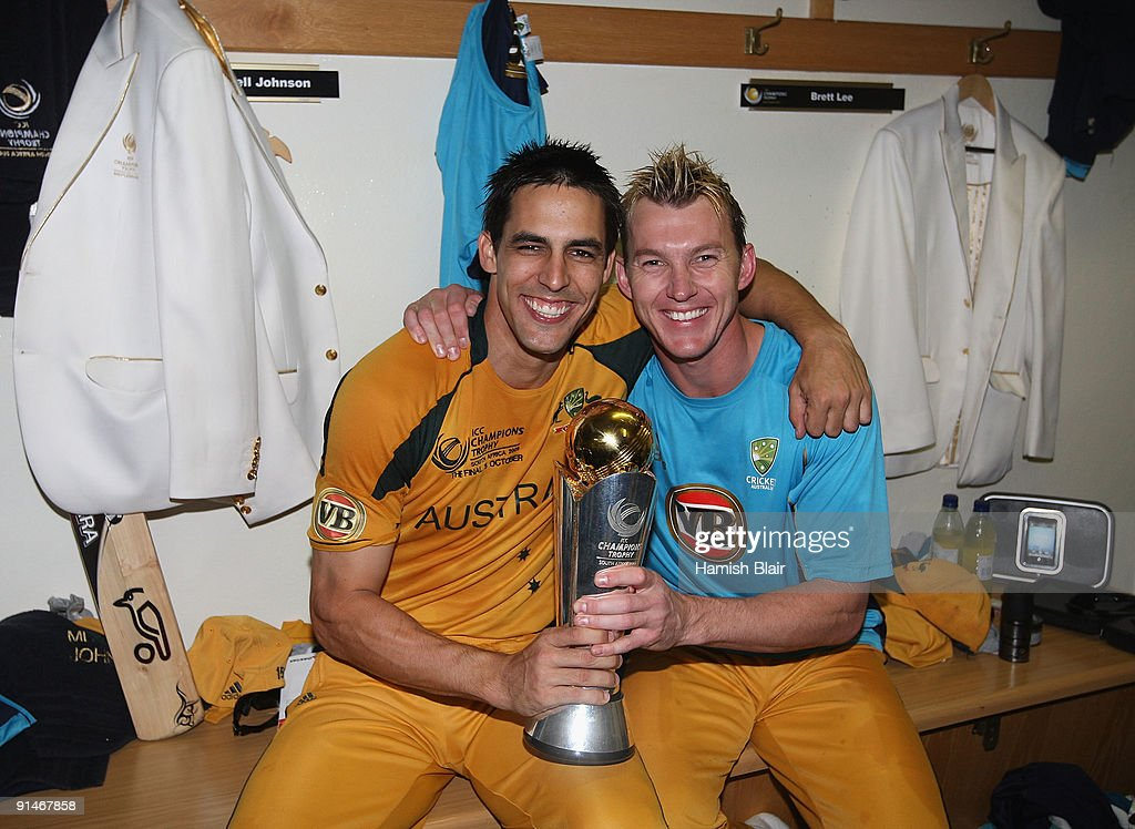 Mitchell Johnson (L) and Brett Lee of Australia celebrate in the changing rooms with the trophy after the ICC Champions Trophy Final between Australia and New Zealand played at Supersport Park on October 5, 2009 in Centurion, South Africa.
