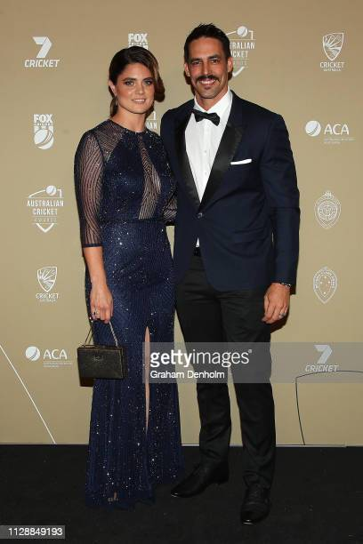 Mitchell Johnson and Jessica Bratich Johnson attend the 2019 Australian Cricket Awards at Crown Palladium on February 11 2019 in Melbourne Australia