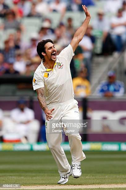 Mitchell Johnson appeals to the umpire after striking Stuart Broad on the pads during day two of the Fourth Ashes Test Match between Australia and...