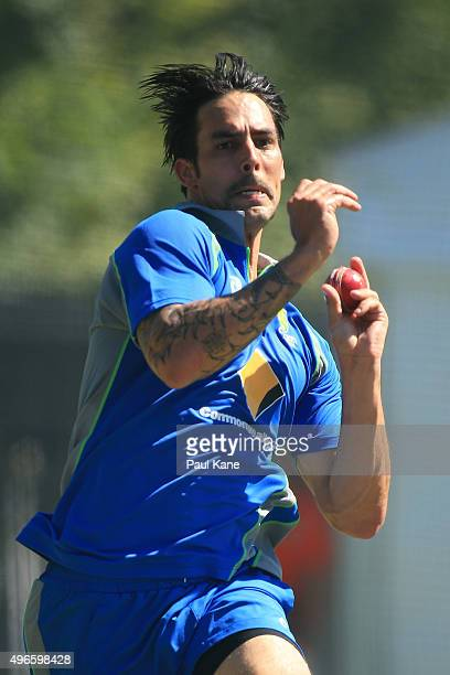Mitchell Johnson bowls during an Australian nets session at WACA on November 11 2015 in Perth Australia