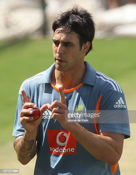 Mitchell Johnson gestures during an Australian Nets Session at Adelaide Oval on December 2 2010 in Adelaide Australia