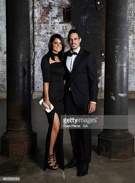 Mitchell Johnson of Australia and his wife Jessica Bratich pose ahead of the 2015 Allan Border Medal at Carriageworks on January 27, 2015 in Sydney,...