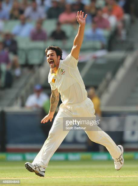 Mitchell Johnson of Australia appeals during day one of the Fourth Ashes Test Match between Australia and England at Melbourne Cricket Ground on...