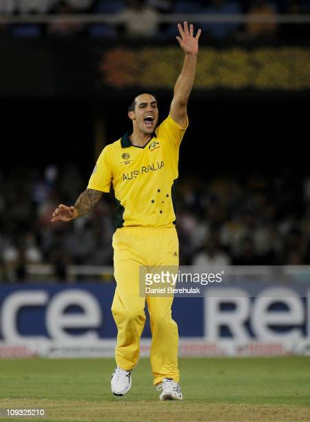 Mitchell Johnson of Australia appeals for an lbw which was later given out after being referred to the 3rd umpire during 2011 ICC World Cup Group A...