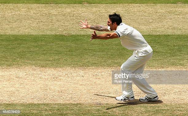 Mitchell Johnson of Australia appeals for the wicket of Ben Stokes of England during day three of the Second Ashes Test match between Australia and...