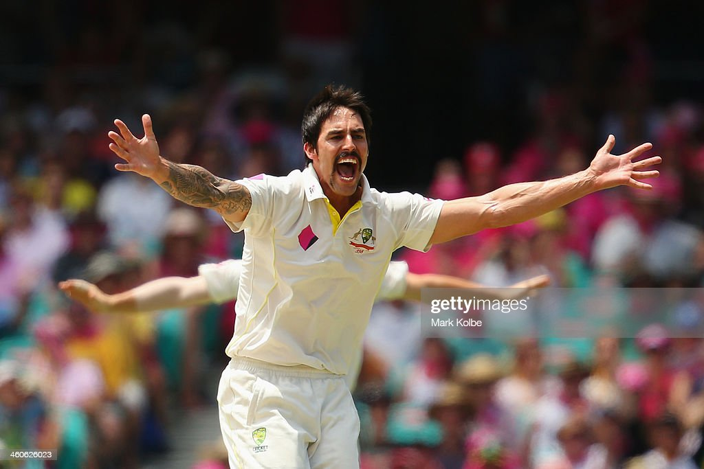 Mitchell Johnson of Australia appeas successfully for the wicket of Alastair Cook of England during day three of the Fifth Ashes Test match between Australia and England at Sydney Cricket Ground on January 5, 2014 in Sydney, Australia.