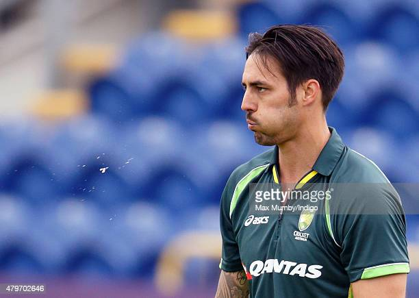 Mitchell Johnson of Australia awaits the arrival of Prince Charles Prince of Wales at the SWALEC Stadium on July 6 2015 in Cardiff Wales